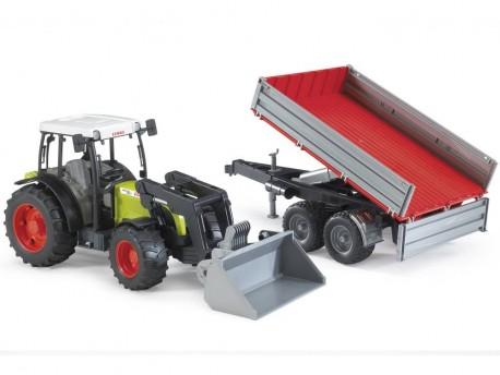 Bruder 01998 Traktor Claas Nectis 267 F z ładowaczem i przyczepą zielono-srebrną