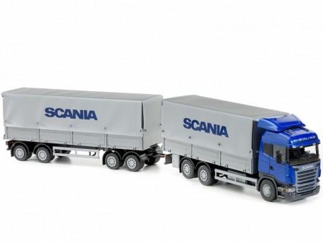 Emek 40804 Scania plandeka z przyczepą - kabina niebieska