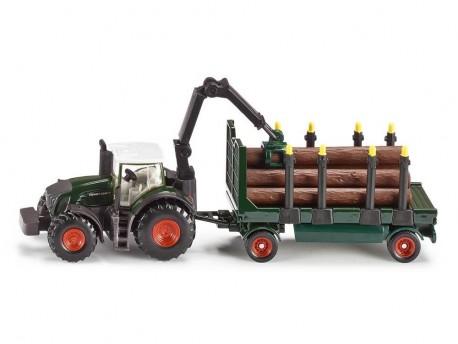 Traktor Fendt z przyczepą do drewna i żurawiem 1/87 Siku 1858