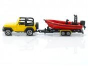 Siku 1658 Jeep Wrangler z łodzią i przyczepką