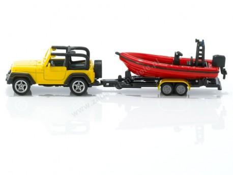 Jeep Wrangler z łodzią i przyczepką