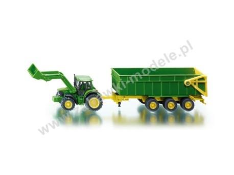 Traktor John Deere z ładowarką i przyczepą