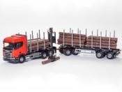 Emek 71605 Scania R450 6x4 transporter drewna czerwony z żurawiem kabinowym i przyczepą