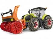 Bruder 03017 Traktor Claas Axion 950 z odśnieżarką i łańcuchami