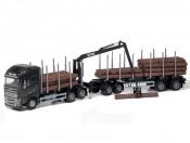 Emek 71303 Volvo FH16 750 XL transporter drewna czarny z przyczepą