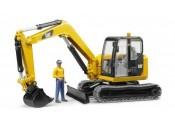 Bruder 02466 Minikoparka Caterpillar z figurką robotnika