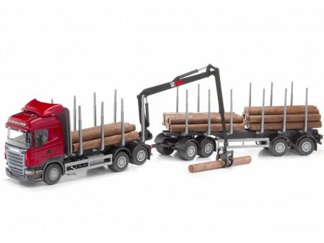 Emek 70805 Scania Highline transporter drewna czerwony z dźwigiem i przyczepą