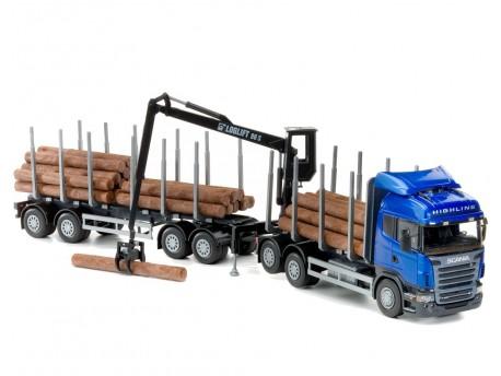 Emek 71804 Scania transporter drewna niebieski z żurawiem kabinowym i przyczepą