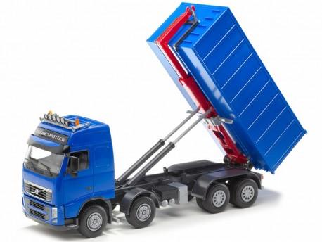 Emek 20854 Volvo FH hakowiec niebieski z kontenerem wysokim niebieskim