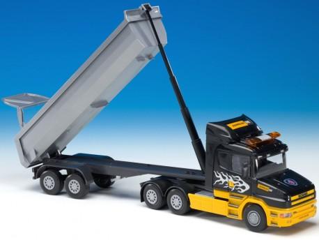 Emek 22523 Scania R HL z naczepą wywrotką - kabina czarno-żółta