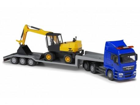 Emek 30794 MAN TGS LX transporter niebieski z koparką