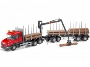 Emek 71405 Scania T164 V8 transporter drewna czerwony z żurawiem i przyczepą