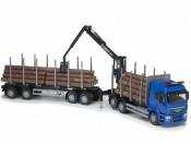 Emek 71794 MAN TGS LX transporter drewna niebieski z żurawiem