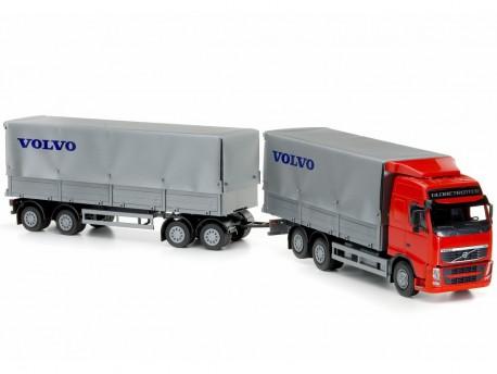 Emek 40855 Volvo FH plandeka z przyczepą 4-osiową - kabina czerwona
