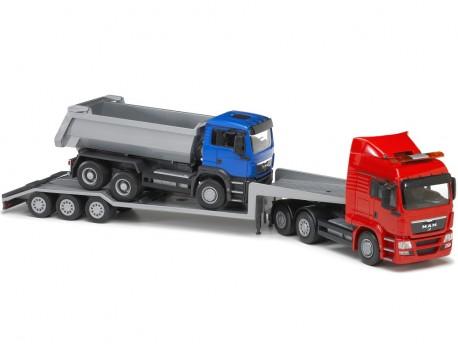 Emek 30175 MAN TGS transporter czerwony z wywrotką