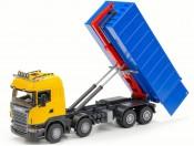 Emek 20809 Scania R hakowiec żółty z kontenerem wysokim niebieskim