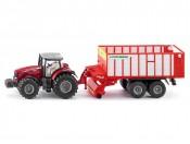 Siku 1987 Traktor Massey Ferguson z przyczepą 1/50