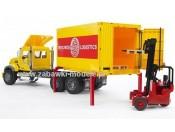 Bruder 02819 Mack z kontenerem, wózkiem widłowym i paletami