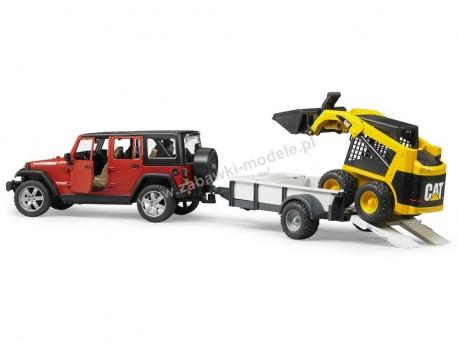 Bruder 02925 Jeep Wrangler Rubicon z przyczepą 1-osiową i miniładowarką CAT