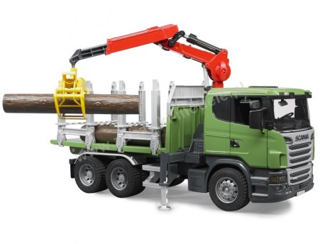 Bruder 03524 Scania R z dźwigiem, przyczepą i pniami