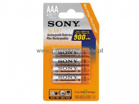 Akumulatory R3/AAA 1,2V 900mAh NiMH Cycle Energy (4) Sony NH-AAA-B4E