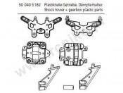 X-18 Mosty amortyzatorów + plastikowe elementy dyferencjału Carson 500405182