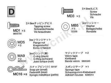 TB-01 Części D metal Tamiya 19415803