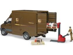 Zabawka Samochód kurierski UPS MB Sprinter z figurką kierowcy i podnośnikiem