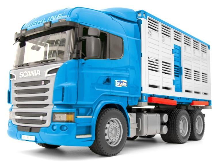 Zabawka Scania R do przewozu zwierząt z figurką wołu