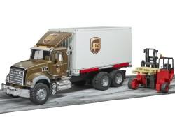 Zabawka Samochód kurierski UPS MACK Granite z figurką kierowcy i podnośnikiem