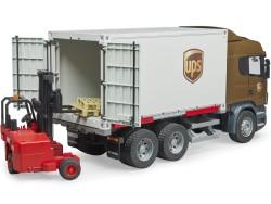 Zabawka Samochód kurierski UPS Scania R z podnośnikiem