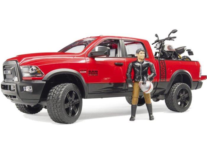 Zabawka Dodge RAM 2500 Power Wagon z motocyklem Ducati Desert Sled