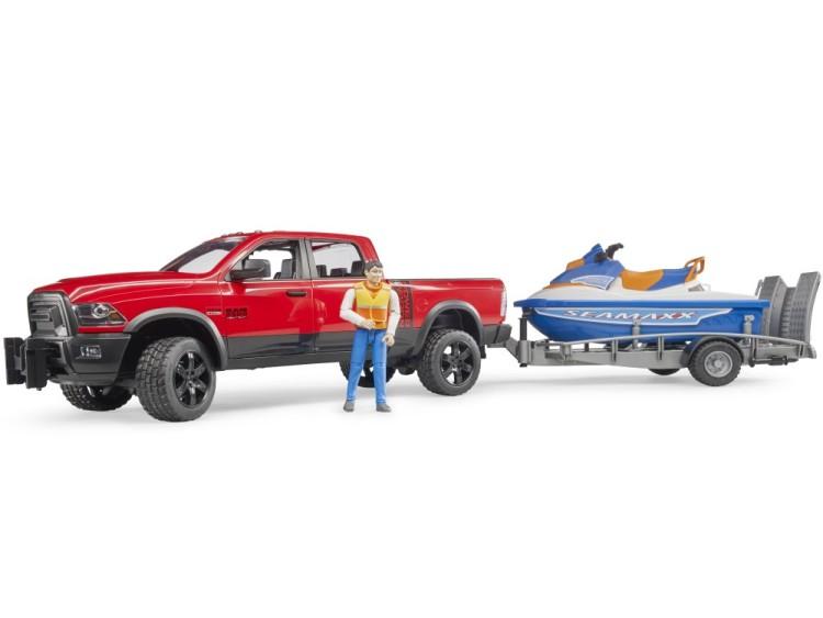 Zabawka samochód Dodge RAM 2500 Power Wagon z przyczepą, skuterem wodnym i figurką foto 1