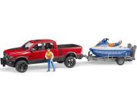 Zabawka samochód Dodge RAM 2500 Power Wagon z przyczepą, skuterem wodnym i figurką foto 2