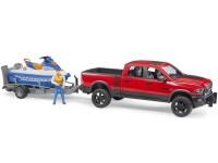 Zabawka samochód Dodge RAM 2500 Power Wagon z przyczepą, skuterem wodnym i figurką foto 3