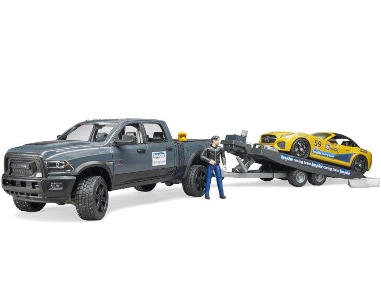 Zabawka Bruder 02504 Dodge RAM z lawetą i autem Roadster