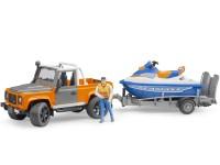 Zabawka samochód Land Rover Defender Station Wagon z przyczepą, skuterem wodnym i figurką foto 2