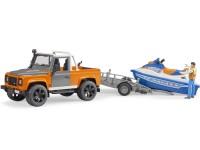 Zabawka samochód Land Rover Defender Station Wagon z przyczepą, skuterem wodnym i figurką foto 4