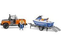 Zabawka samochód Land Rover Defender Station Wagon z przyczepą, skuterem wodnym i figurką foto 5