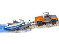 Zabawka samochód Land Rover Defender Station Wagon z przyczepą, skuterem wodnym i figurką foto 6