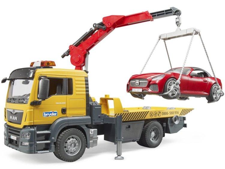 Zabawka Bruder 03750 MAN TGS Pomoc drogowa z roadsterem i modułem sygnalizacyjnym