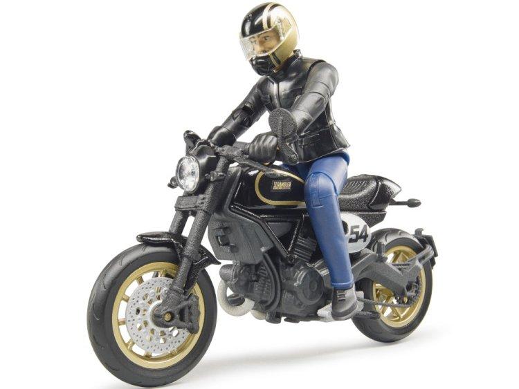 Zabawka motocykl Scrambler Ducati Cafe Racer z figurką