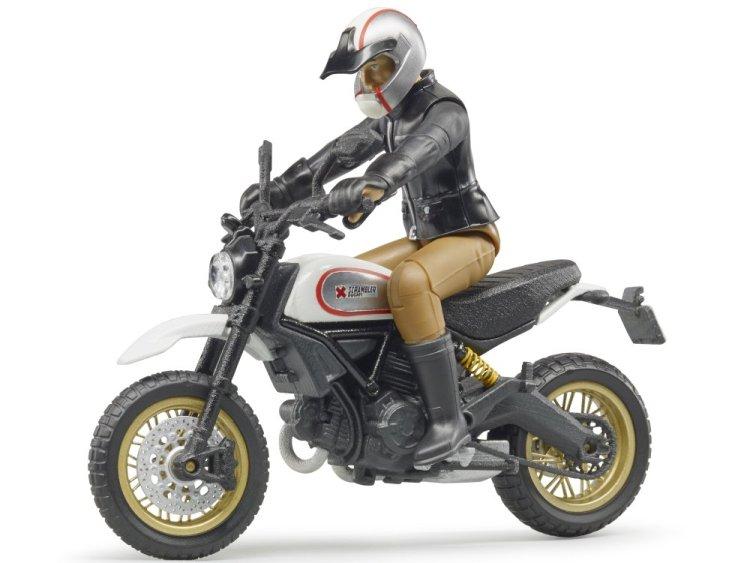 Zabawka motocykl Scrambler Ducati Desert Sled z figurką